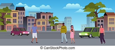 People on the city streets