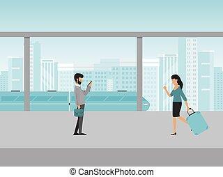 People on the train station vector illustration. Passengers subway tram modern city public transport. Men and women waiting trains on platform