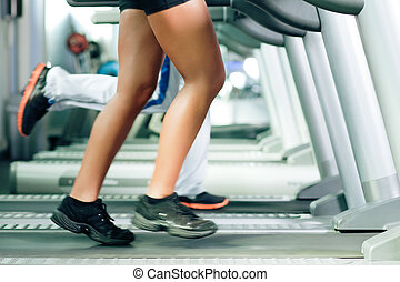 People on treadmill in gym running - Woman and man in gym -...