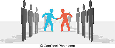 Two leaders step from sides lines of people or companies to join in a handshake & agree to cooperate.
