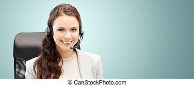 smiling female helpline operator with headset - people,...