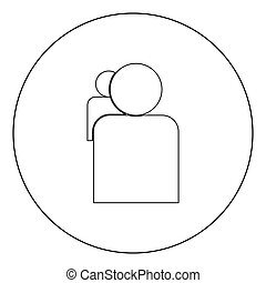 People or two avatar  icon black color in circle