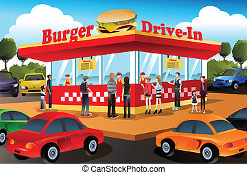 People ordering hamburger at a drive-in hamburger restaurant