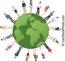 people over earth globe