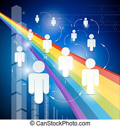 People - Paper Cut Icons with Arrows on Rainbow and Blue Background