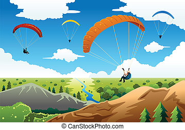 People paragliding - A vector illustration of people...
