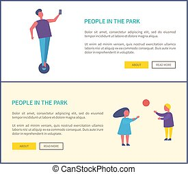 People Park Man, Riding on Segway, Kids Play Ball