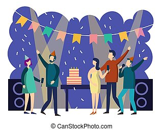 People party cartoon. Colorful flat style. Cartoon vector illustration