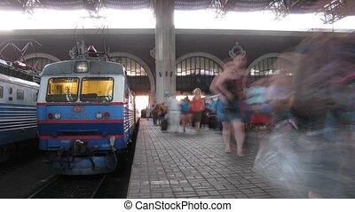 People pass on platform in Kazansky Rail Terminal