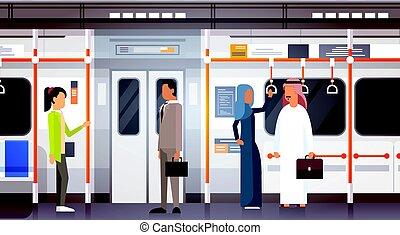 People Passangers In Subway Car Modern City Public Transport, Underground Tram