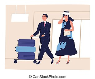People, passenger at airport, depart, arrival for journey. ...