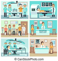 People, patients in hospital, medical staff in office,  consultation, treatments and examination vector flat concepts