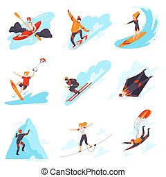 People performing different types of extreme sports vector ...
