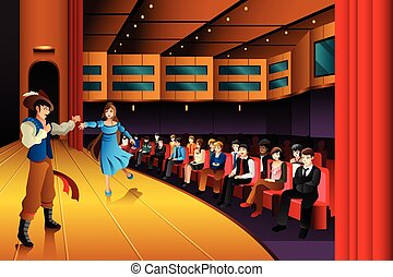 People performing on a stage - A vector illustration of ...