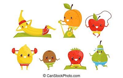 People Performing Various Sports Activities Set, Banana, Peach, Apple, Pear, Strawberry, Kiwi, Lemon Athletes Doing Gymnastics Vector Illustration