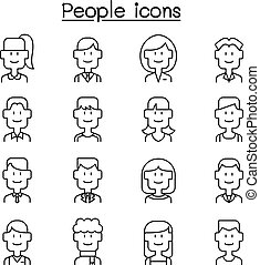 People, person, career, profession icon set in thin line style