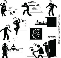 A set of pictograms representing the phobia of mouse, spider, height, cockroach, flight, and dentist.