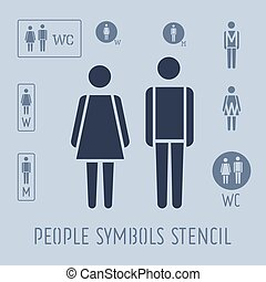 people pictogram for toilet, female and male stencil icon set.