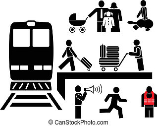 People at the railway station - set of vector icons. Black and white images. Man embarks on a travel.