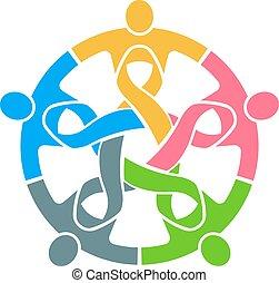 People Pink Ribbon Teamwork. Vector Logo