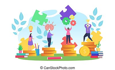 People planning work in business strategy vector illustration. Teamwork for goal achievement, success, profit and financial growth
