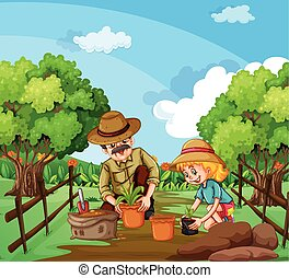 People planting tree in the garden