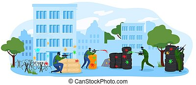 People play paintball game flat vector illustration, cartoon player character team wearing mask playing military paintball isolated on white