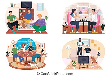 People playing a board game at home in living room with pets, cozy atmosphere in the evening