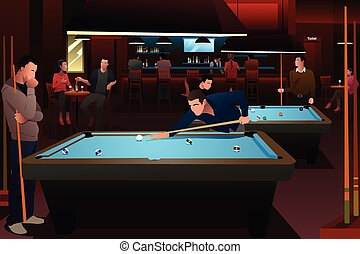 People Playing Billiard - A vector illustration of people...