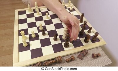 People playing chess at home