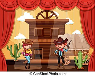 People playing cowboy on stage illustration