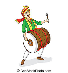 People playing dhol tasha in Indian festival in vector