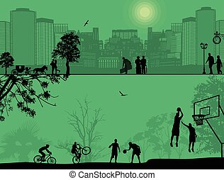 People playing in the city park