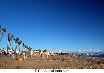 beach in Santa Cruz - people playing on the beach in Santa...