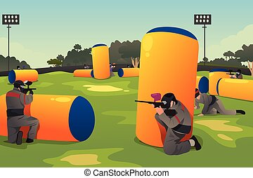 People Playing Paintball - A vector illustration of people...
