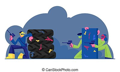 People Playing Paintball Battle. Team Hide behind Barrier during Sport Game. Players in Protective Uniform and Masks Aiming and Shooting with Gun to Opponents Outdoors Cartoon Flat Vector Illustration