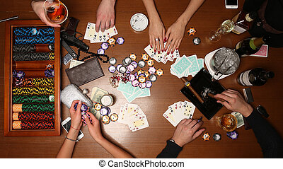 People playing poker. Close up