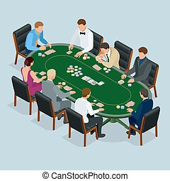 People playing poker in the casino, gambling. Isometric vector Group of young people playing poker in a casino vector illustration.