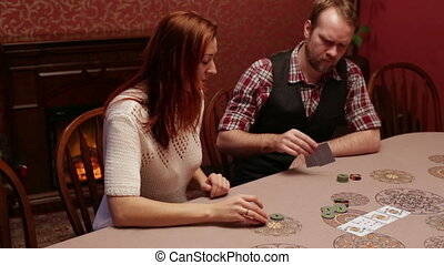 People playing poker in the casino. Place your bets. Spread...