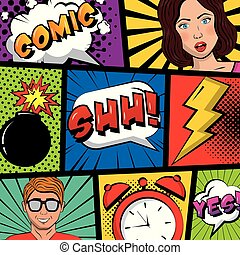 people pop art comic