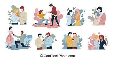 Collection of people proposing to dates, isolated set of characters giving engagement ring to beloved person. Gay and lesbian couples in love, non traditional and modern marriages, vector in flat