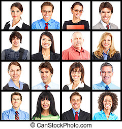 People portrait collage. - People faces collage. Man and ...
