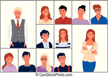 People Portrait, Crowd of Man and Woman Vector