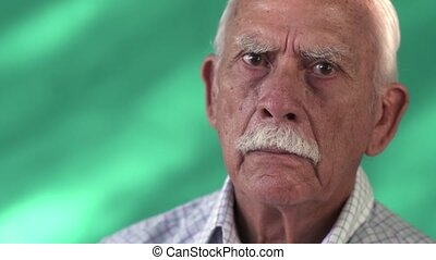 People Portrait Sad Senior Hispanic Man