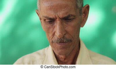 People Portrait Serious Old Latino Man With Mustache