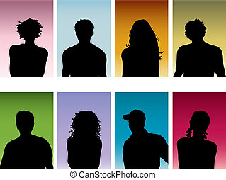 Silhouettes of peoples heads
