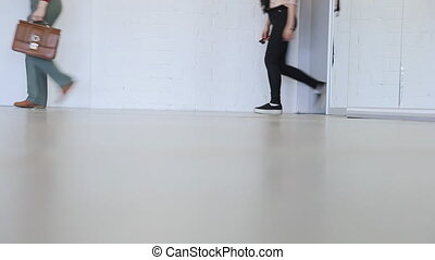 People practice in catwalk in dancing class in day time.
