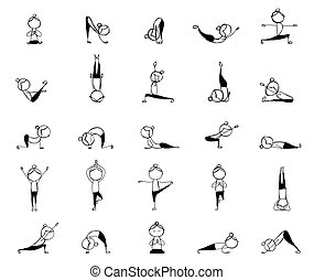 People practicing yoga, 25 poses for your design
