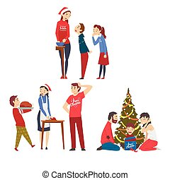 People Preparing for Winter Holidays, Men, Women and Kids Decorating Christmas Tree and Cooking Delicious Dishes Vector Illustration