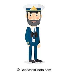 Sea captain vector character